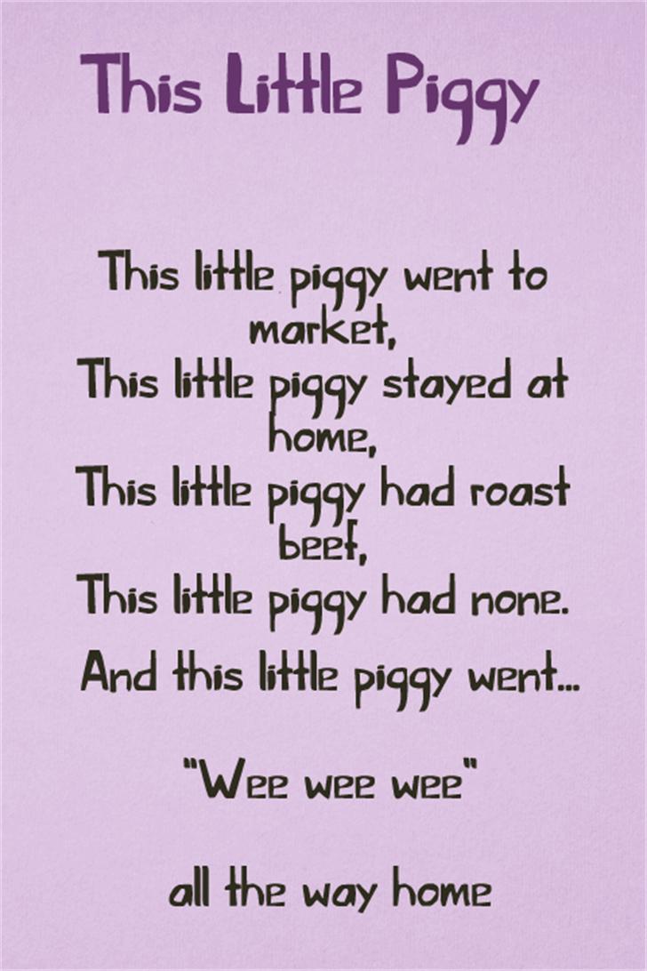 This Little Piggy font by David Kerkhoff