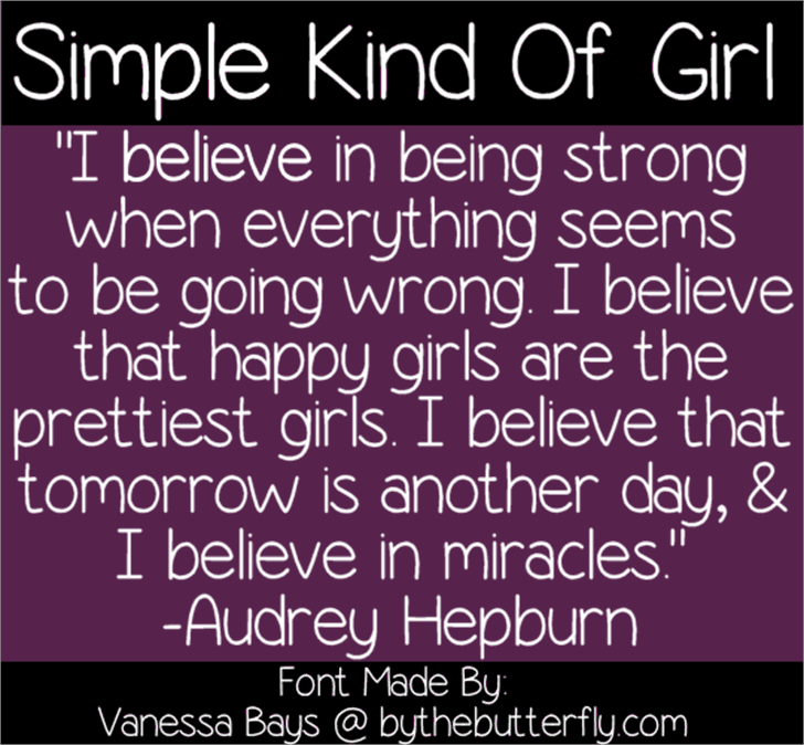 Simple Kind Of Girl Font screenshot text