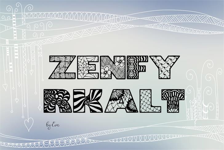 Zenfyrkalt Font text drawing