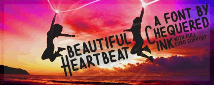 Beautiful Heartbeat Font poster sunset