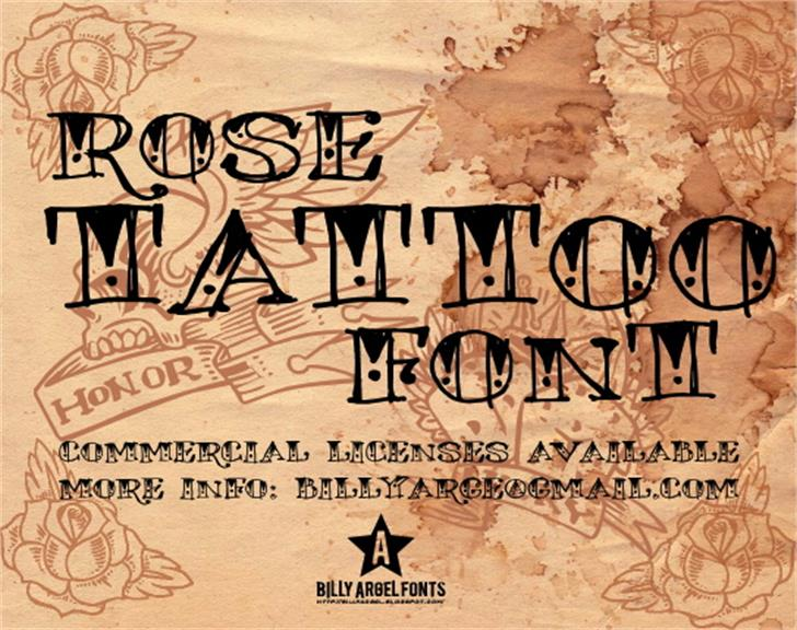 ROSE TATTOO Font text handwriting