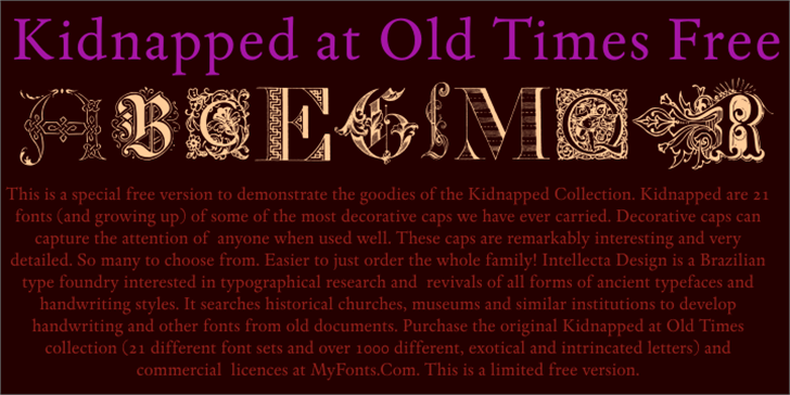 Kidnapped at Old Times Free Font poster book