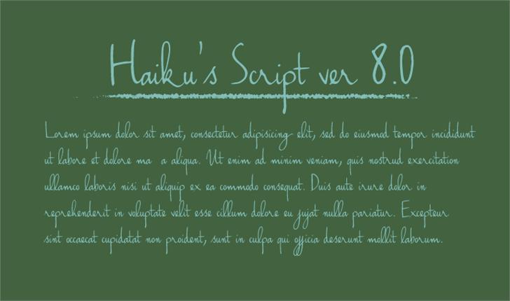 Haiku's Script ver.06 Font handwriting text