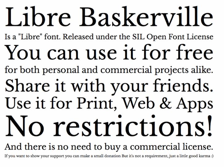 Libre Baskerville font by Pablo Impallari