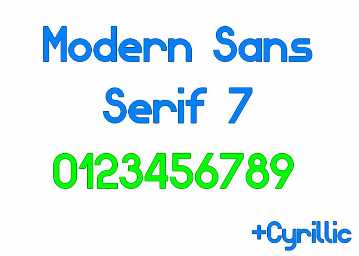 Modern Sans Serif 7 Font design screenshot