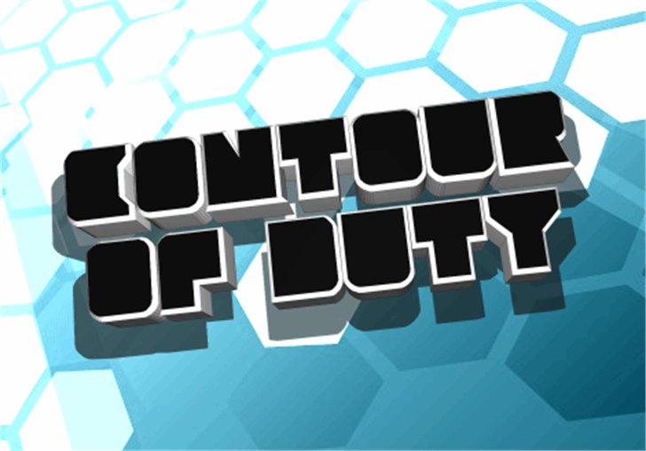 Contour of Duty Font screenshot honeycomb