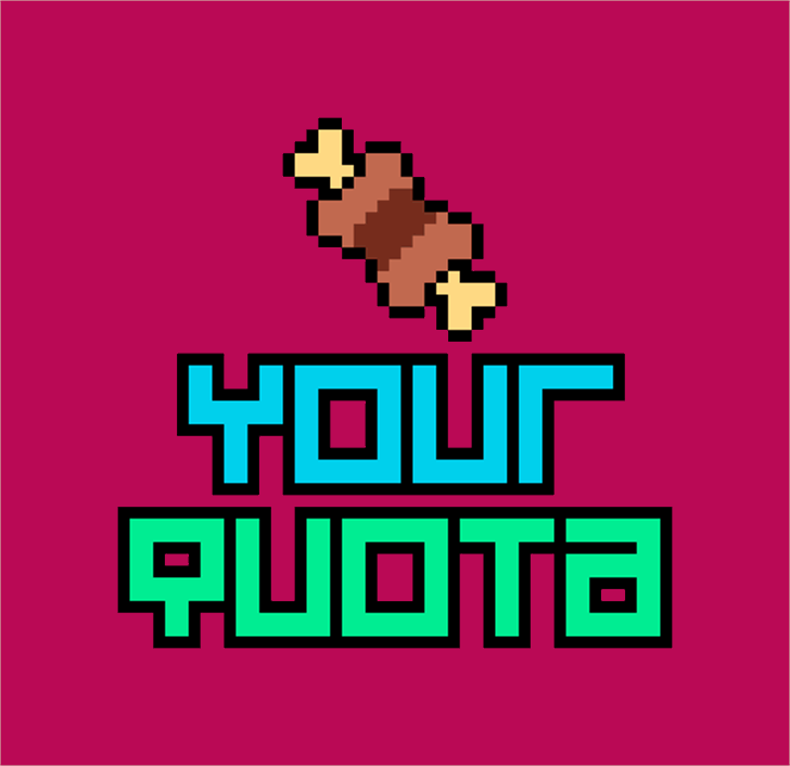 Your Quota Font cartoon graphic