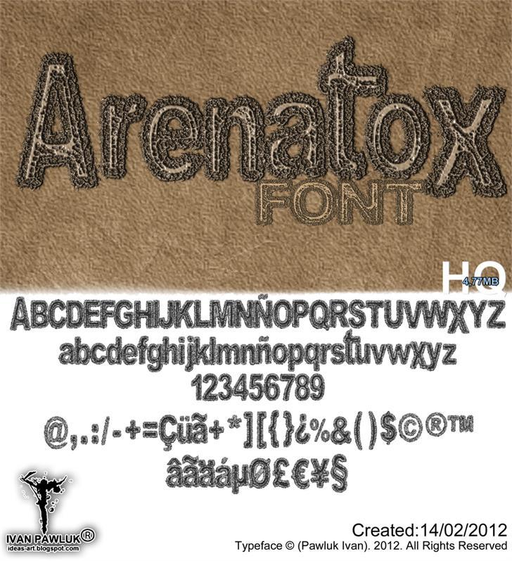 Arenatox font text handwriting