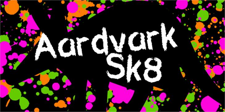 Aardvark Sk8 Font design cartoon
