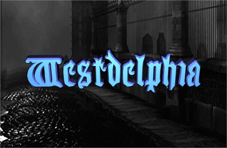 Westdelphia Font screenshot sign
