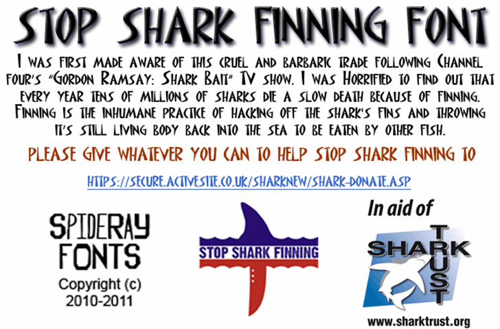 STOP SHARK FINNING font by SpideRaYsfoNtS