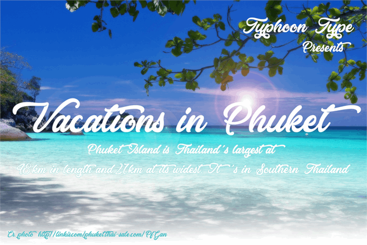 Vacations in Phuket Font design text