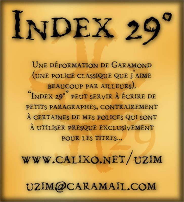 Index 29° Font screenshot text