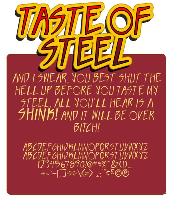 Taste of steel Font poster text