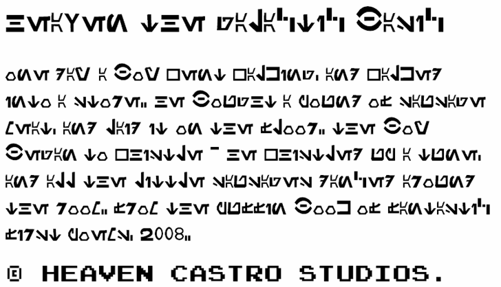 Heaven the Galactic Basic Font font text
