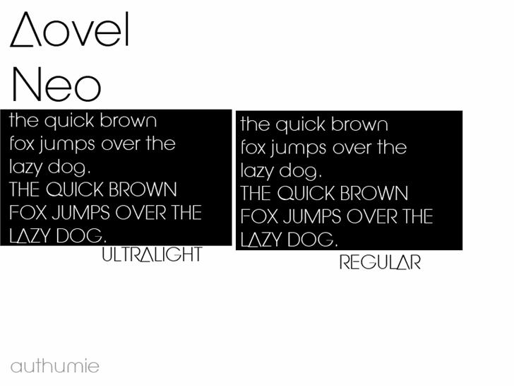 Aovel Neo Font design text
