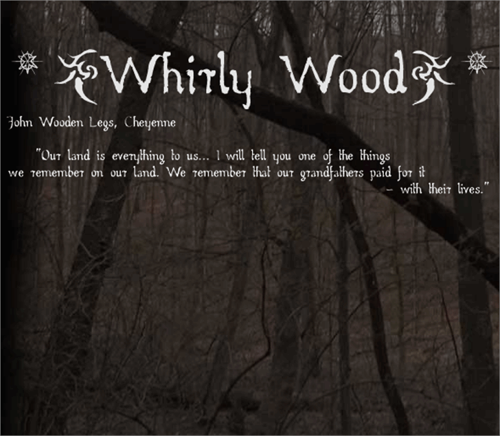 Whirly Wood Font screenshot outdoor