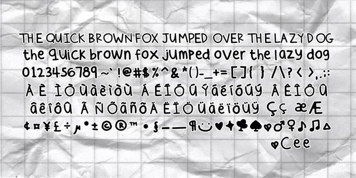 Cee's Hand Font text handwriting