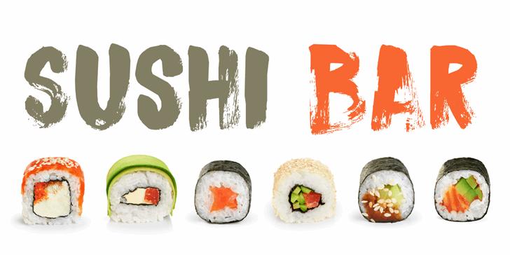 DK Sushi Bar Font dish sushi