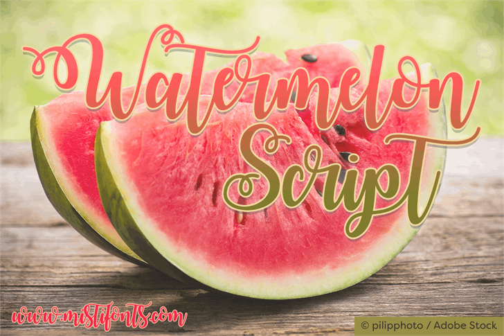 Watermelon Script Demo Font food watermelon