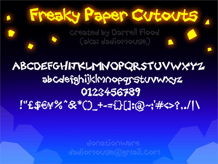 Freaky Paper Cutouts Font screenshot design