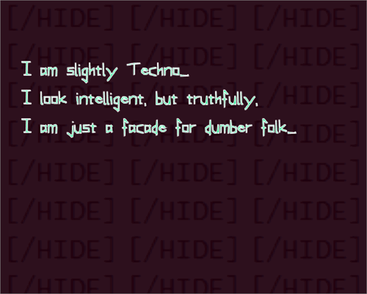 Slightly Techno Font screenshot design